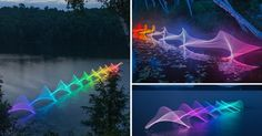 This photographer uses programmable LED light sticks attached to kayak paddles to translate that movement into photographic light paintings. Beautiful!