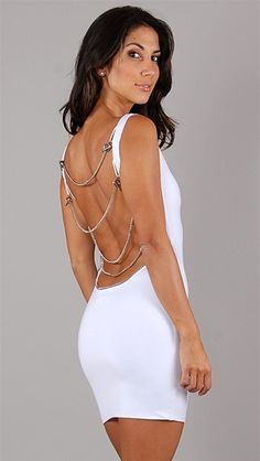 Savee Couture White Open Back Chain Mini Dress
