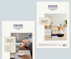 Studio Output has created a new brand identity for direct-trade coffee brand Union Hand-Roasted Coffee. The new look is aimed at repositioning the brand as a more premium offering. Editorial Layout, Editorial Design, Magazine Design, Print Ads, Poster Prints, Cereal Magazine, Grid Layouts, Photoshop, Publication Design