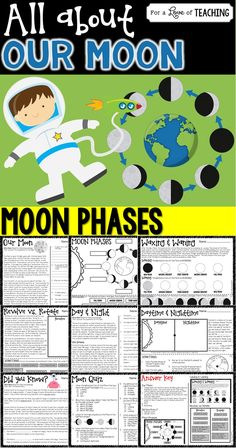 All About Our Moon (Moon Phases) This product works great as a review. You could use it as student desk work or center work. A 3-page quiz which includes 24 multiple choice questions is included. Use as a supplement to any moon unit.