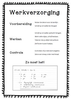 Werkverzorging - zo vanzelfsprekend dat je bijna vergeet om het even duidelijk op papier te zetten. Maar nu, bij deze! MB BB School Plan, Back 2 School, Middle School, Classroom Posters, Classroom Tools, Classroom Arrangement, Visible Learning, School Levels, School 2017