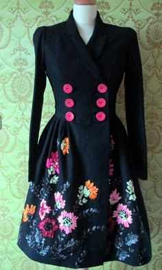 CUSTOM MADE floral ribbon embroidered black coat with fuchsia buttons for fall