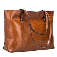 4031dc39a1d2 S-ZONE Women s Vintage Genuine Leather Tote Shoulder Bag Handbag Upgraded  Version (Dark Brown