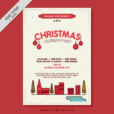 Modern christmas party celebration poster  Free Vector