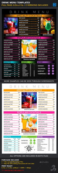 Drink Menu Templates  Generic — Photoshop PSD #prices #creativb • Available here → https://graphicriver.net/item/drink-menu-templates-generic/12996410?ref=pxcr
