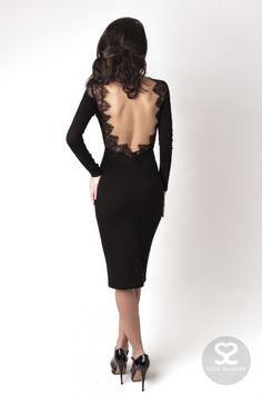 Элегантное черное платье с открытой спиной от дизайнера в интернет магазине | Skazkina