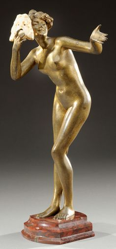 "PAUL PHILIPPE gilt bronze nude holding an ivory tragedy mask aside her smiling face, signed with foundry mark and ""P. Philippe"" at the  base. circa 1900. H : 30 cm"