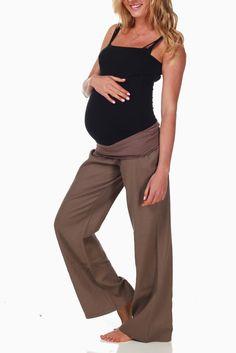 Mocha-Linen-Maternity-Pants