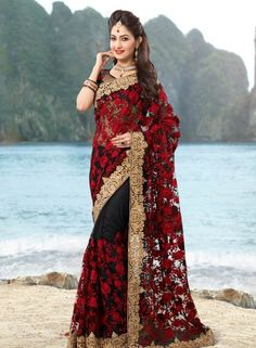 Sarees, Saris, Indian Sarees and Buy Sarees Online Shopping at SilkMuseum Saree Designs Party Wear, Party Wear Sarees, Saree Blouse Designs, Indian Beauty Saree, Indian Sarees, Silk Sarees, Indian Dresses, Indian Outfits, Modern Saree