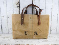 US MILITARY Bag Tote WWII Era Repurposed  Rifle Sling Mens