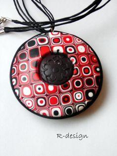 SAM_2427 | Piros-fekete retro mintás nyaklánc | Szelicsány Rita | Flickr Polymer Clay Pendant, Fimo Clay, Polymer Clay Jewelry, Polymer Clay Embroidery, Jewelry Art, Jewelry Ideas, Jewellery, Clay Tutorials, Statement Jewelry