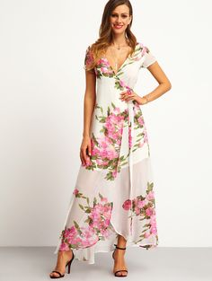 Online shopping for White Floral Print Wrap Maxi Dress from a great selection of women's fashion clothing & more at MakeMeChic.COM.