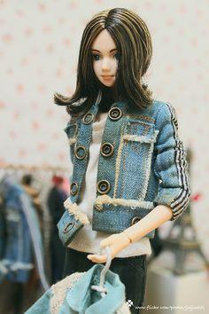 jiajiadoll washed jean stripes jacket fits momoko or by jiajiadoll, $34.00