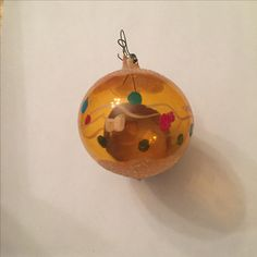 Hand-Painted Yellow Colored Ball Ornament | glass - medium | 1 ornament | Bought in Mexico