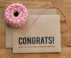 Congratulations Card  Modern EcoFriendly Simple by BubbyAndBean, $4.00