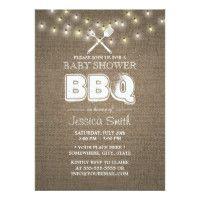 Rustic String Lights Burlap Baby Shower BBQ Card