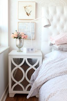 Mirrored nightstand in ivory & blush (with white) room