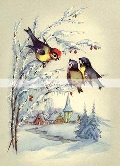 images about Christmas: Bird Cards & Illustrations on . Swedish Christmas, Christmas Bird, Scandinavian Christmas, Retro Christmas, Vintage Christmas Images, Antique Christmas, Vintage Holiday, Christmas Pictures, Maneki Neko