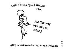 Amy Winehouse ft Mark Ronson. Valerie. 365 illustrated lyrics project, Brigitte Liem.