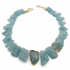 Aquamarine Necklace with 14K Yellow Gold Accents by Jim Cotter