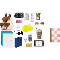 What's in my school bag-the Starbucks coffee is a must :) Back To School Hacks, School Tips, I School, School Stuff, Middle School, School Ideas, Teen School Supplies, College Supplies, Backpack Essentials