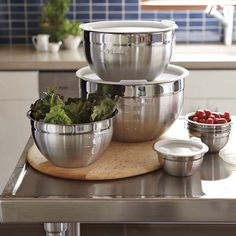Stainless-Steel Mixing Bowls with Lids, Set of 3 #WilliamsSonoma