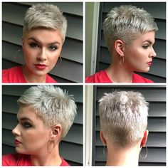 pretty people without makeup style Heres a little 360 Styled with Freeze It hairspray and aussiehair Volume mousse Short Spiky Hairstyles, Short Pixie Haircuts, Short Hairstyles For Women, Hairstyles Haircuts, Haircut For Older Women, Short Hair Cuts For Women, Short Hair Styles, Super Short Hair, Short Grey Hair