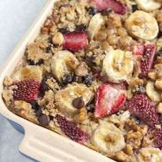 Baked Oatmeal with Strawberries, Banana and Chocolate.