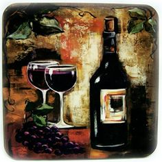 """Custom & Cool {3.5"""" Inches} Set Pack of 5 Square """"Grip Texture"""" Drink Cup Coasters Made of Flexible Poly Fabric w/ Cork Bottom & Wine Glass Painting Design [Colorful Tan, Purple & Green] w/ Holder mySimple Products"""