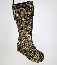 """Katherine's Collection Black And Gold Christmas Collection Set Two Assort Approx 20"""" Beaded Black And Gold Stockings Free Ship"""