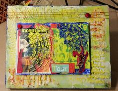 Encaustic 5x7 board on 8x10 canvas with wire and buttons. Started with molding paste on the two canvas.   By Cheryl jacobson