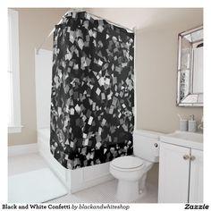 Black and White Confetti Shower Curtain