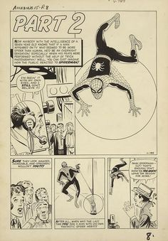 themarvelageofcomics: A page from the first Spider-Man story, from AMAZING FANTASY by Steve Ditko. In the up-close, you can see where Ditko signed the upper left of the board, and also the roughed-in PART 2 copy. Spiderman Drawing, Hulk Spiderman, Amazing Spiderman, Spiderman Original, Comic Book Artists, Comic Artist, Comic Books Art, Amazing Fantasy 15, Book Creator