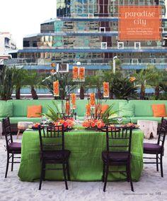 #MayWeddingPhotoChallenge   Wedding table linen green and orange
