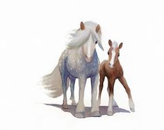 Watercolor Horse Art, Watercolor Horse  Drawing, Painting, Blue and White Art, Horse Gift, Gift for Her, Fine Art, Giclee Artwork, Prints