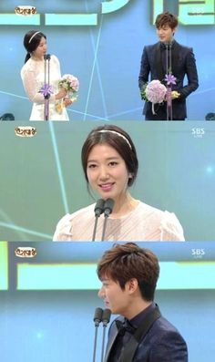 cool Lee Min Ho•Park Shin Hye, the Best Couple award..'Award given by Kim Woo Bin' [SBS Drama Acting Awards]