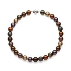 Sterling Silver Multi-chocolate Shell Pearl Magnetic-clasp Necklace