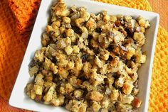 Savory Cremini Mushroom Dressing - Baby Portabellas rock!  Thanksgiving stuffing but in a casserole.