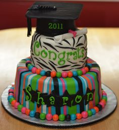 Graduation Cake - Colourful Graduation cake.