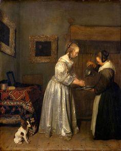 Gerard ter Borch (II) - Woman Washing Hands - - Vermeer and the Masters of Genre Painting - Wikimedia Commons Dresden, Vermeer Paintings, Dutch Republic, Renaissance, Dutch Golden Age, Johannes Vermeer, Free Art Prints, Dutch Painters, European Paintings