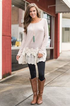 """""""Long Sleeve Tunic with Floral Lace Trim - Taupe You will need lady luck on your side to get your hands on this tunic! Tunics that are this adorable tend to sell out quickly! And this one should be no exception! #newarrivals #shopthemint"""