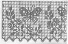 Szydełkomania: Bordiury - filet for window Filet Crochet Charts, Crochet Borders, Knitting Charts, Crochet Motif, Crochet Designs, Crochet Doilies, Crochet Patterns, Crochet Curtains, Crochet Tablecloth
