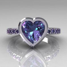14K White Gold 2.10 Carat Heart Alexandrite Ring