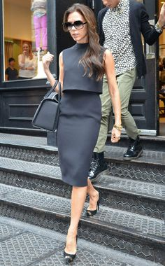 Victoria Beckham in a suited crop top pencil skirt combo (and great heels + bag)