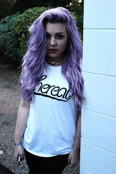 wavy, loved for my hair to do this when it grows longer and dries naturally #purple #dyed #scene #hair #pretty
