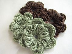 Crochet Flowers Two Layer Sage Green & Brown 4 by LMCrochet www.etsy.com