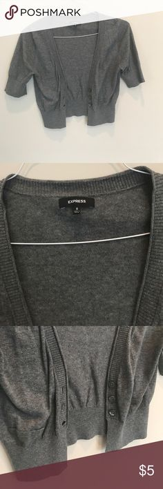 Express Grey Cropped Cardigan Lightweight cropped cardigan. Barely worn. Medium gray color. Express Sweaters Cardigans