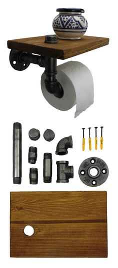 IRWOST - Support papier toilette déco industriel steampunk avec étagère en tuyau Un porte papier toilette unique, conçu par IRWOST, en tuyau et raccord de plomberie avec une étagère d'appoint en pin massif permettant d'y déposer téléphone portable, lingette, désinfectant pour les mains, clés, cendrier, montre, lunettes tout ce que l'on ne sait déposer lorsque que l'on se trouve au wc