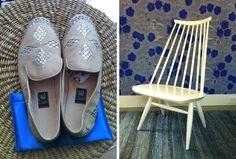 Classic Finnish design, Birger Kaipiainen wallpaper and Ilmari Tapiovaara Mademoiselle Lounge chair.    Finnish Lines | Tiina in Amagansett, N.Y. - NYTimes.com
