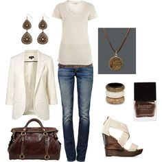 ivory and bronze - love the shoes and blazer.